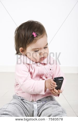 Baby With Phone Mobile