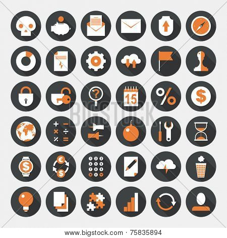 Business icons set. Flat design