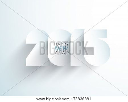 Greeting card design with stylish text Happy New Year 2015 on blue background.
