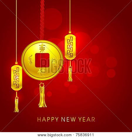 Beautiful greeting card design for Happy New Year celebrations with golden Chinese coin and lanterns hanging on shiny red background.