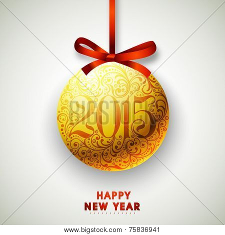 Happy New Year 2015 celebrations concept with floral decorated Christmas ball on grey background.