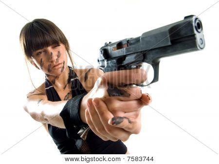 Beautiful Girl With Gun