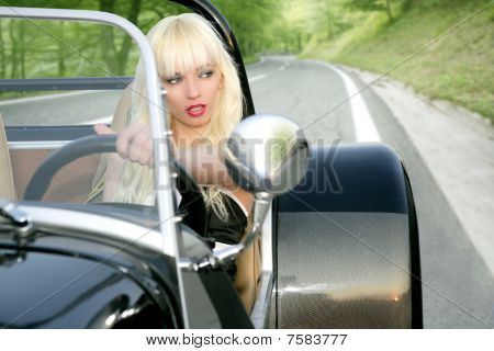 Blond Beautiful Black Sport Car Young Sexy Girl
