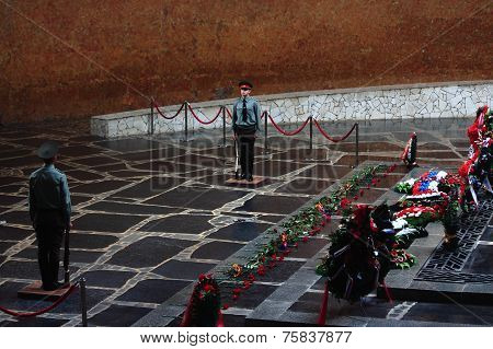 Guards of honor by the famous war memorial Eternal flame on Mamayev Hill