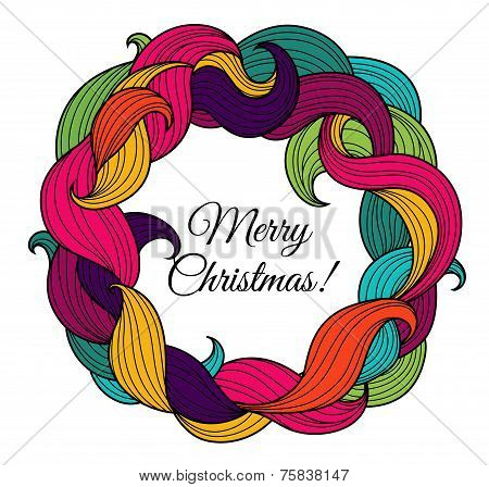 Christmas card with wreath of colorful twirls
