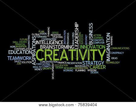 Conceptual text word cloud metaphor for creative, team, teamwork, management