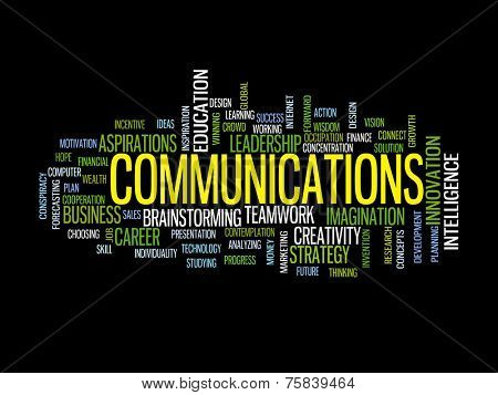 Communication business strategy concept word cloud