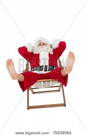 Relaxed santa stiting on deckchair on white background