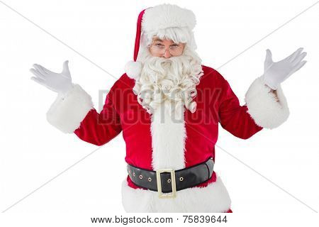 Portrait of perplexed santa on white background