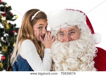 Little girl teling santa claus a secret on white background