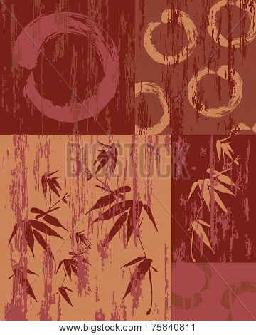Zen Circle And Bamboo Vintage Wood Poster Background