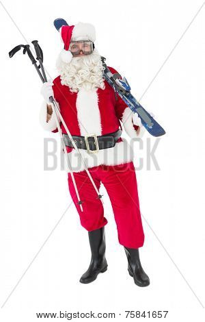 Santa claus holding ski and ski poles on white background