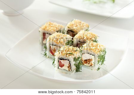 Chicken Maki Sushi - Roll made of Smoked Chicken Breast, Cheese, Fresh Tomato inside. Crispy Bread and Dill outside