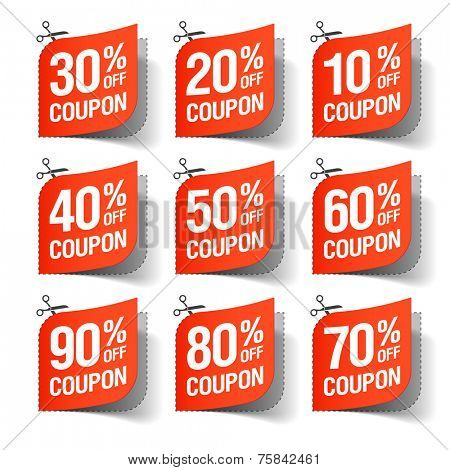 Sale coupons. Vector illustration.