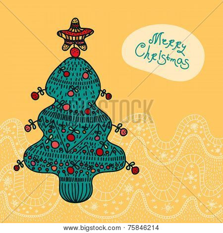 Christmas vector card with xmas tree, bubble talk, snowflakes. Hand drawn element. Funny xmas design