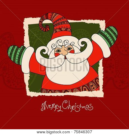 Merry Christmas vector card with Santa Claus. Cute and happy San