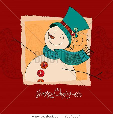 Christmas design. XMas invitation with snowman. Merry Christmas