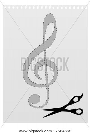 Illustration of a G clef template and a scissors