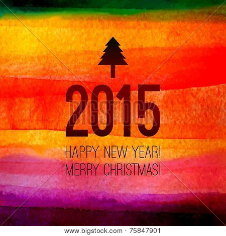 Christmas tree icon with 2015 label and text. Happy New year and