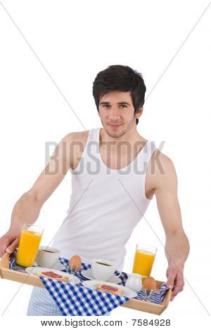 Breakfast - Young Man Holding Tray With Breakfast