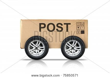 Box With Signs And Post Label On Wheels Isolated On White