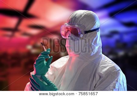 Scientist with protective hazmat suit  inside a High Tech Lab