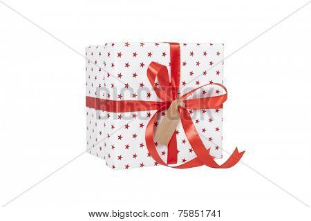 Christmas present in beautiful wrapping on white background