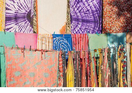 Colorful Fabrics In Morocco