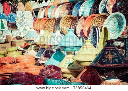 Tajines In The Market, Marrakesh,morocco