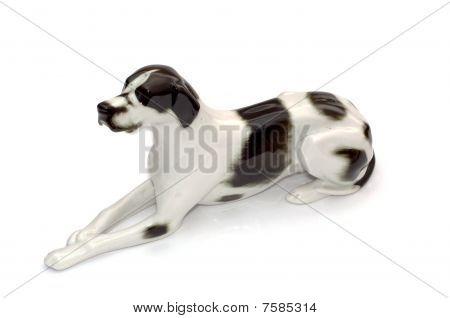 Porcelain antique dog isolated on white background