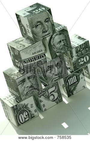 Concepto de pirámide financiera dinero