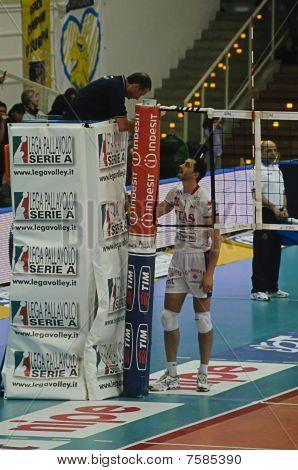 italienische Männer Volleyball Weltmeisterschaft 2009/2010 Itas Diatec Trentino Volley Vs macerata