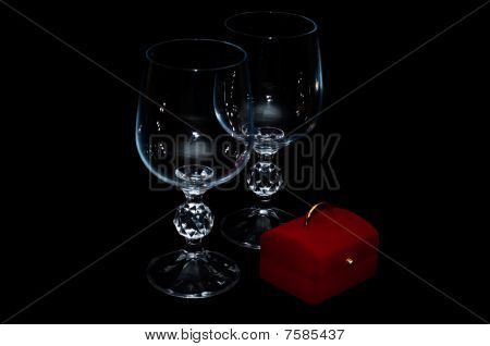 Wineglasses and red box