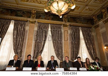 MOSCOW - JUNE, 20: Ambassador C. M. Ragaglini and film team. Press conference Russian Italian film Amori elementari. Welcome reception at the Embassy of Italy. June 20, 2014 in Moscow, Russia