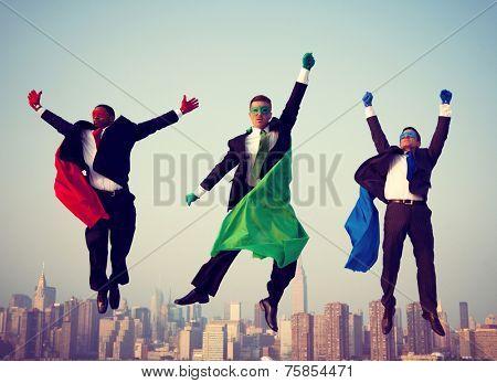 Superhero Businessmen New York Flying Concept