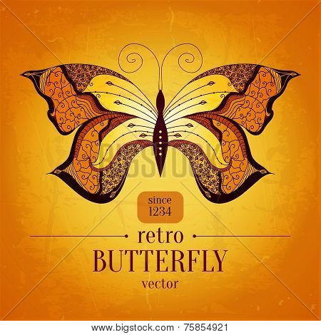 Retro butterfly vector banner design.Vintage butterfly ornament.