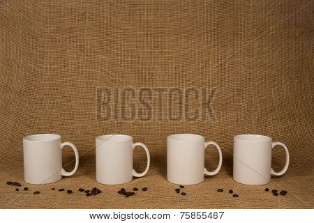 Coffee Mug Background - White Mugs And Beans