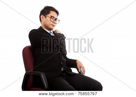 Asian Businessman Sit On Office Chair  With Back Pain