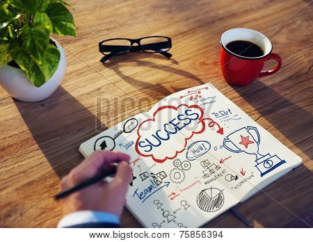 Hand of Businessman Working with Success Concept