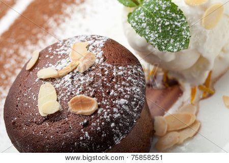 Warm Chocolate Cake Fondant With Ice-cream Ball, Almond, Mint, Citron