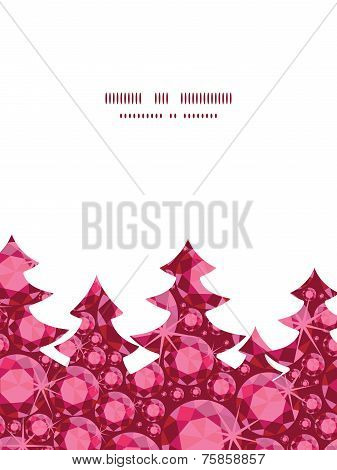 Vector ruby Christmas tree silhouette pattern frame card template