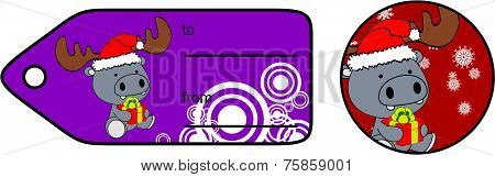 hippo xmas baby cartoon gift card