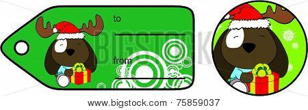 dog xmas baby cartoon gift card