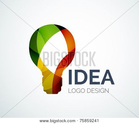 Abstract light bulb logo design made of color pieces - various geometric shapes