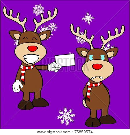 xmas reindeer cartoon expression set04
