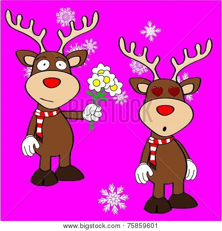 xmas reindeer cartoon expression set02