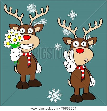 xmas reindeer cartoon expression set0