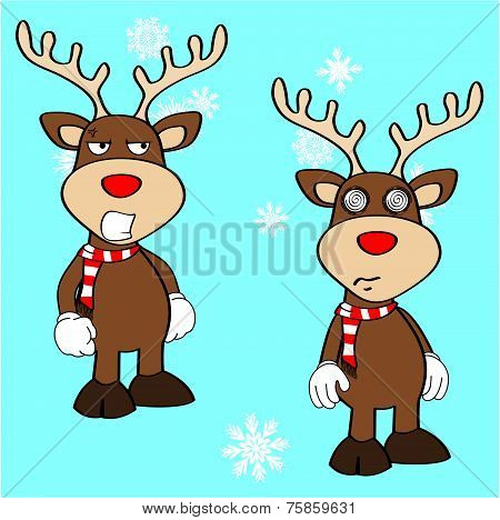 xmas reindeer cartoon expression set8