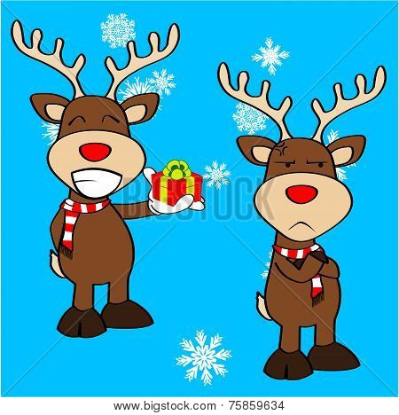 xmas reindeer cartoon expression set7