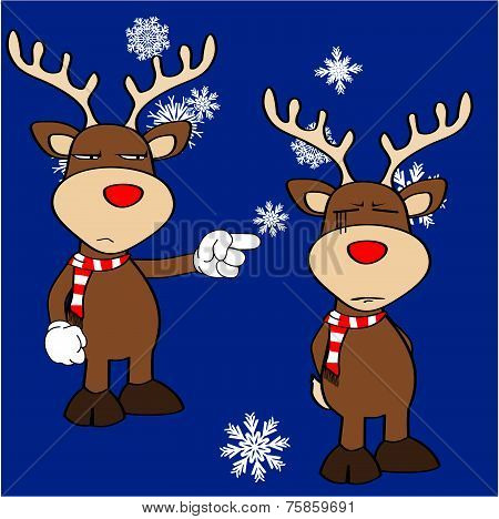 xmas reindeer cartoon expression set3